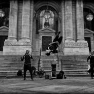 street performers at New York Public library